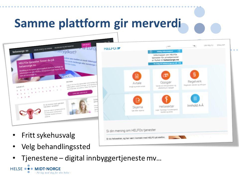 Samme plattform gir merverdi Fritt sykehusvalg Velg behandlingssted Tjenestene – digital innbyggertjeneste mv…