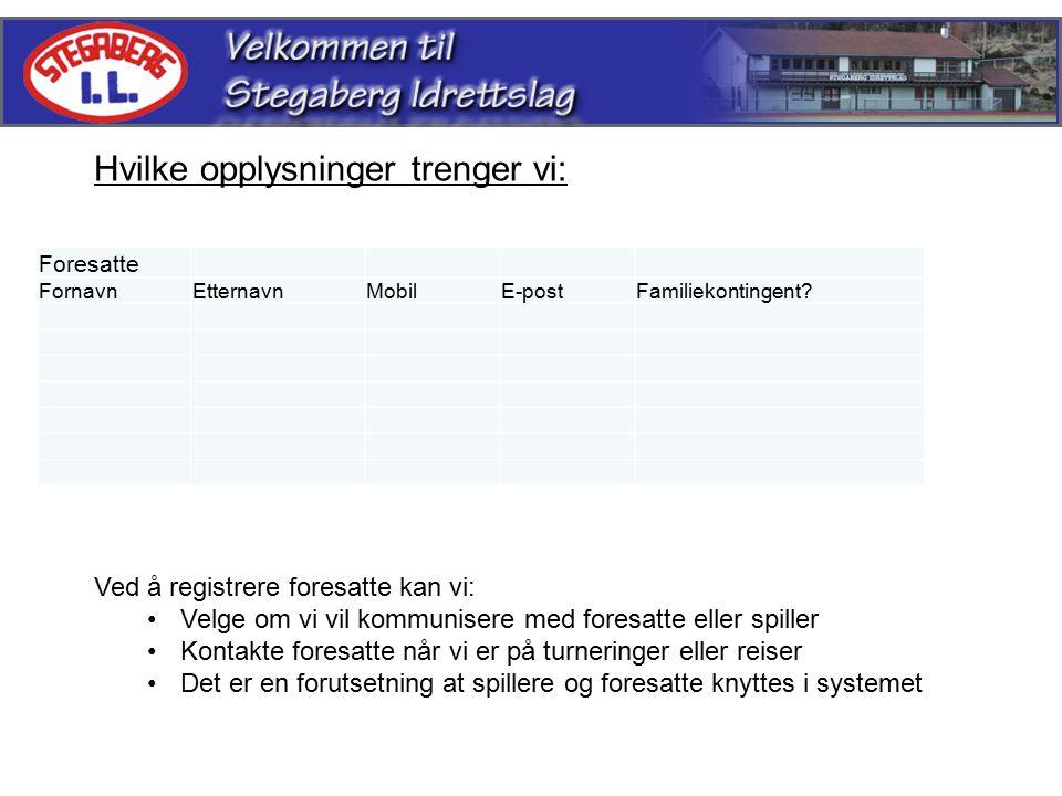 Foresatte FornavnEtternavnMobilE-postFamiliekontingent.