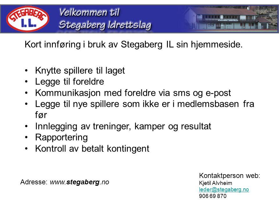 Kort innføring i bruk av Stegaberg IL sin hjemmeside.