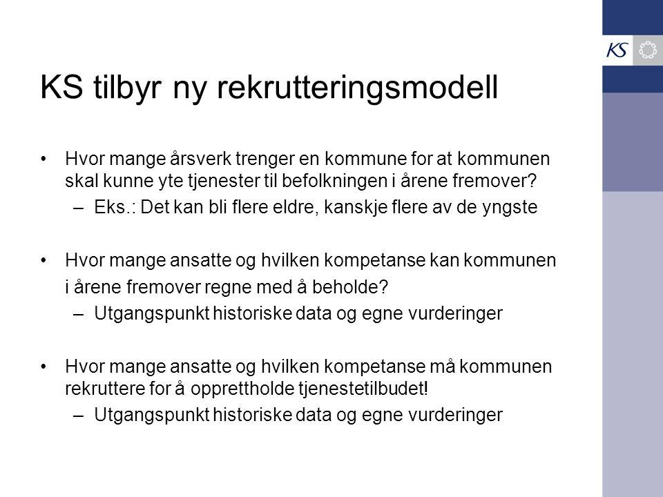 KS tilbyr ny rekrutteringsmodell Hvor mange årsverk trenger en kommune for at kommunen skal kunne yte tjenester til befolkningen i årene fremover.