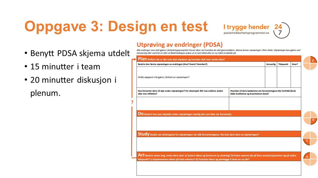Oppgave 3: Design en test Benytt PDSA skjema utdelt 15 minutter i team 20 minutter diskusjon i plenum.