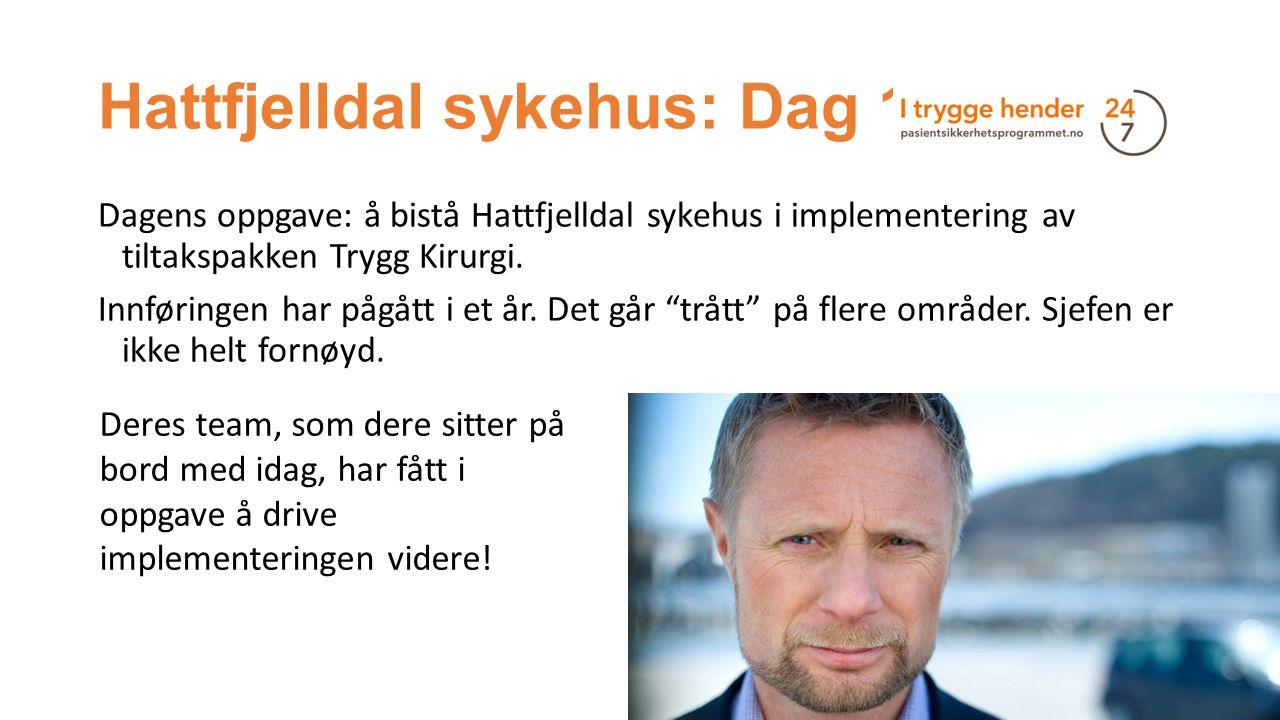Hattfjelldal sykehus: Dag 1 Dagens oppgave: å bistå Hattfjelldal sykehus i implementering av tiltakspakken Trygg Kirurgi. Innføringen har pågått i et