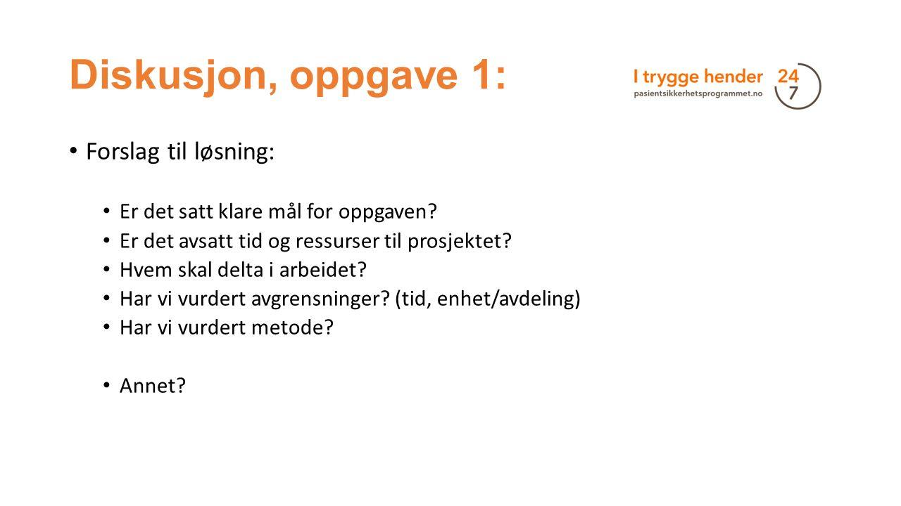 Diskusjon, oppgave 1: Forslag til løsning: Er det satt klare mål for oppgaven? Er det avsatt tid og ressurser til prosjektet? Hvem skal delta i arbeid
