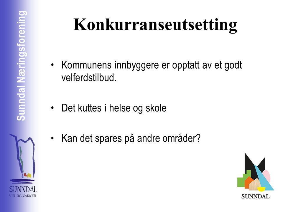 Sunndal Næringsselskap Sunndal Næringsforening Konkurranseutsetting Kommunens innbyggere er opptatt av et godt velferdstilbud.