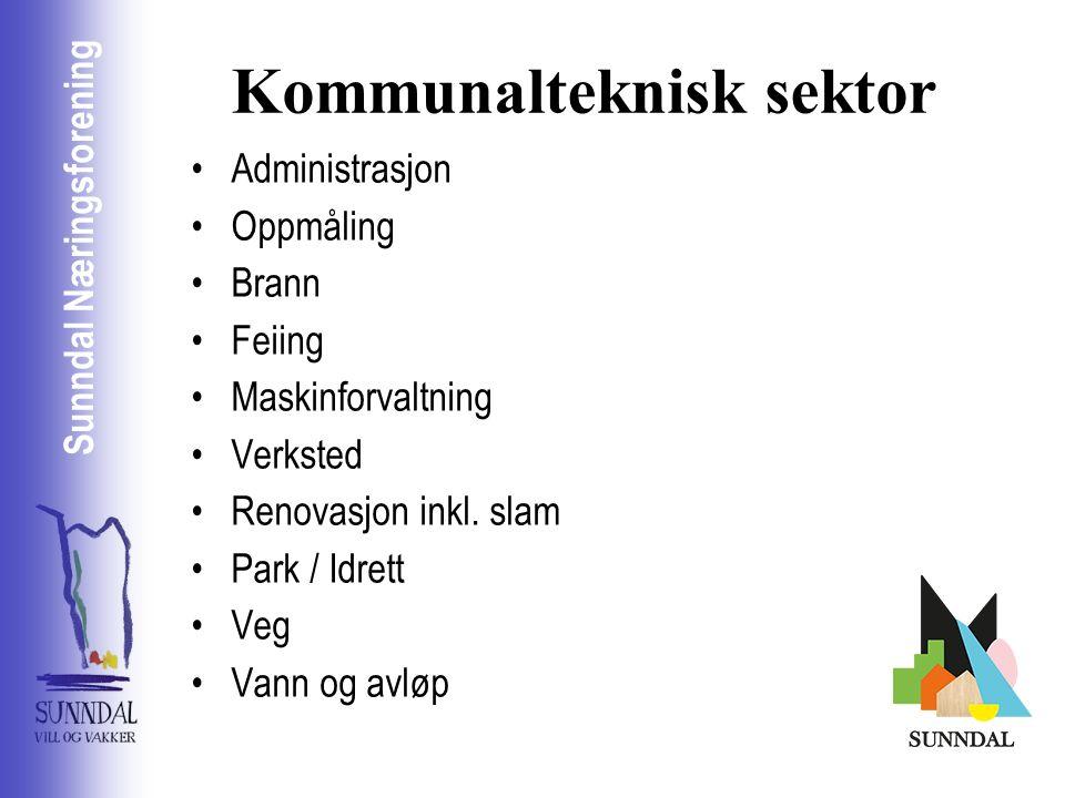 Sunndal Næringsselskap Sunndal Næringsforening Kommunalteknisk sektor Administrasjon Oppmåling Brann Feiing Maskinforvaltning Verksted Renovasjon inkl.