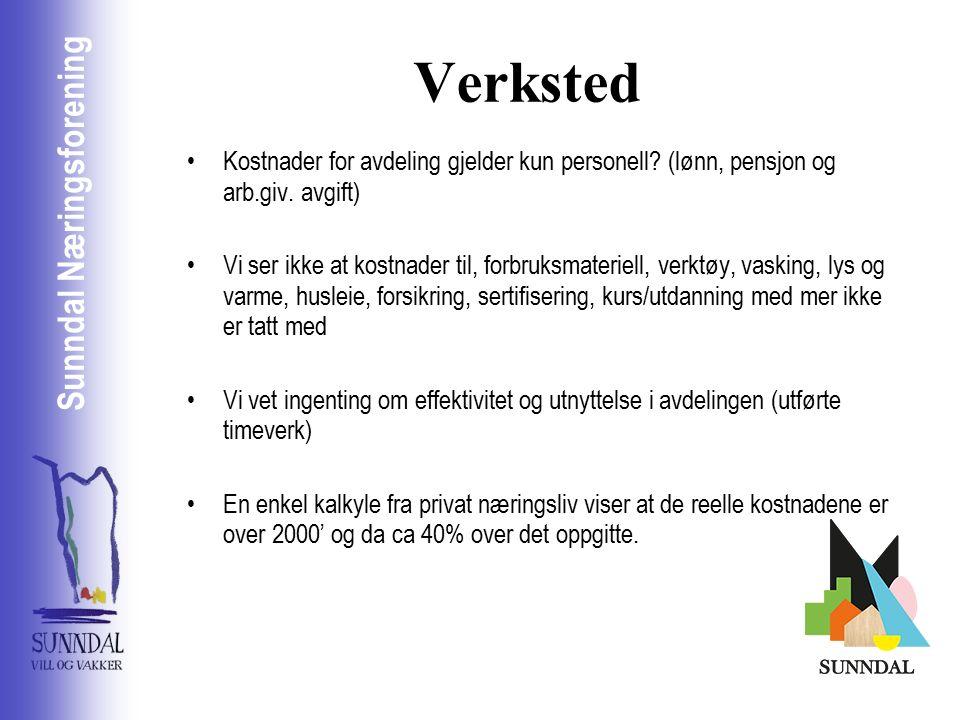 Sunndal Næringsselskap Sunndal Næringsforening Verksted Kostnader for avdeling gjelder kun personell.
