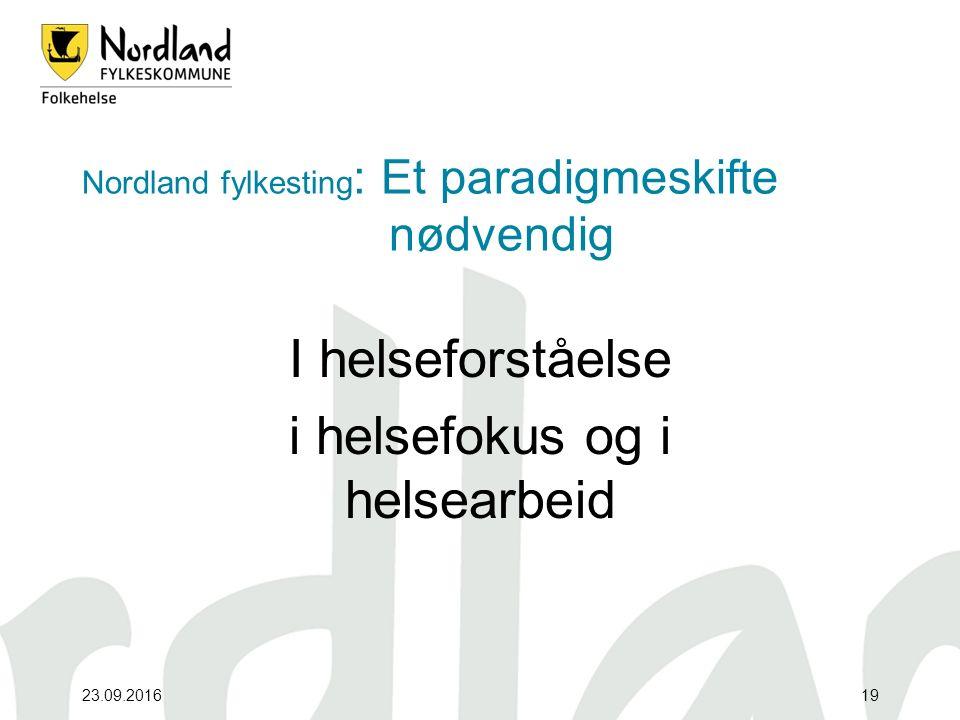 23.09.201619 Nordland fylkesting : Et paradigmeskifte nødvendig I helseforståelse i helsefokus og i helsearbeid