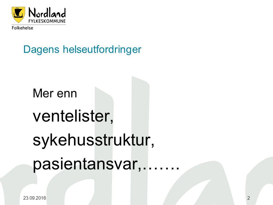 23.09.20162 Dagens helseutfordringer Mer enn ventelister, sykehusstruktur, pasientansvar,…….