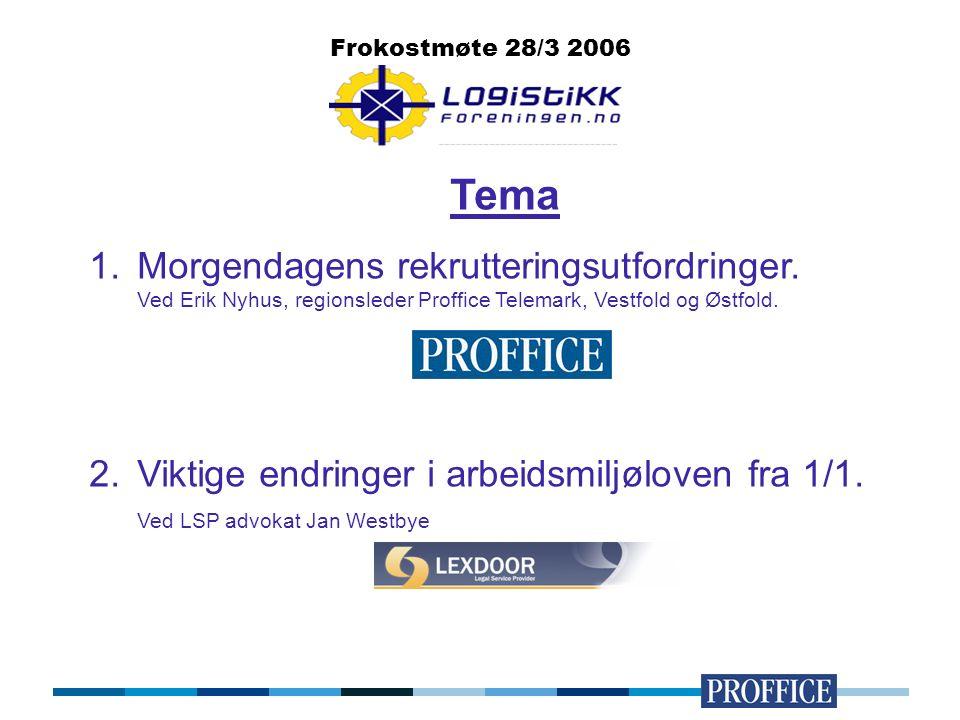 Tema 1.Morgendagens rekrutteringsutfordringer. Ved Erik Nyhus, regionsleder Proffice Telemark, Vestfold og Østfold. 2.Viktige endringer i arbeidsmiljø