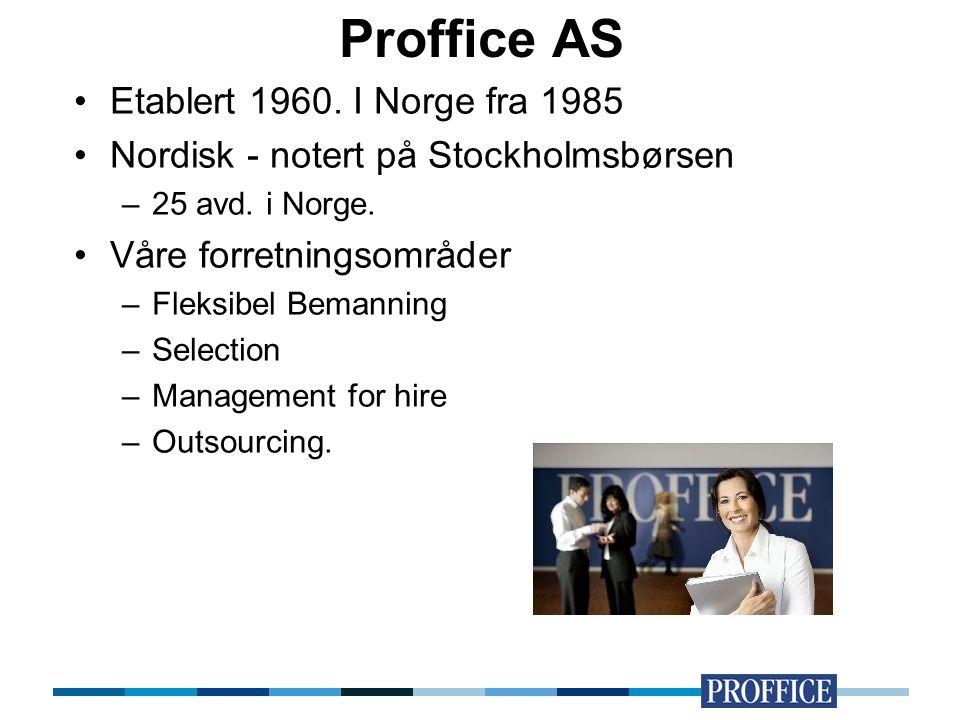Proffice AS Etablert 1960. I Norge fra 1985 Nordisk - notert på Stockholmsbørsen –25 avd. i Norge. Våre forretningsområder –Fleksibel Bemanning –Selec