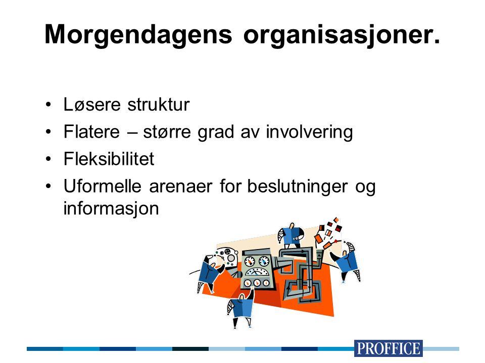 Morgendagens organisasjoner. Løsere struktur Flatere – større grad av involvering Fleksibilitet Uformelle arenaer for beslutninger og informasjon