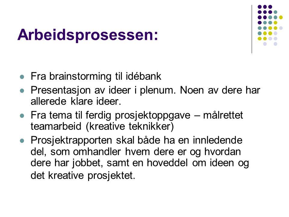 Arbeidsprosessen: Fra brainstorming til idébank Presentasjon av ideer i plenum.