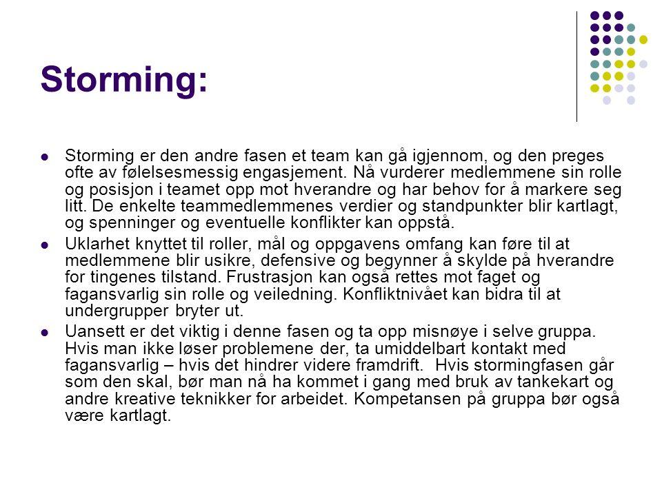 Storming: Storming er den andre fasen et team kan gå igjennom, og den preges ofte av følelsesmessig engasjement.