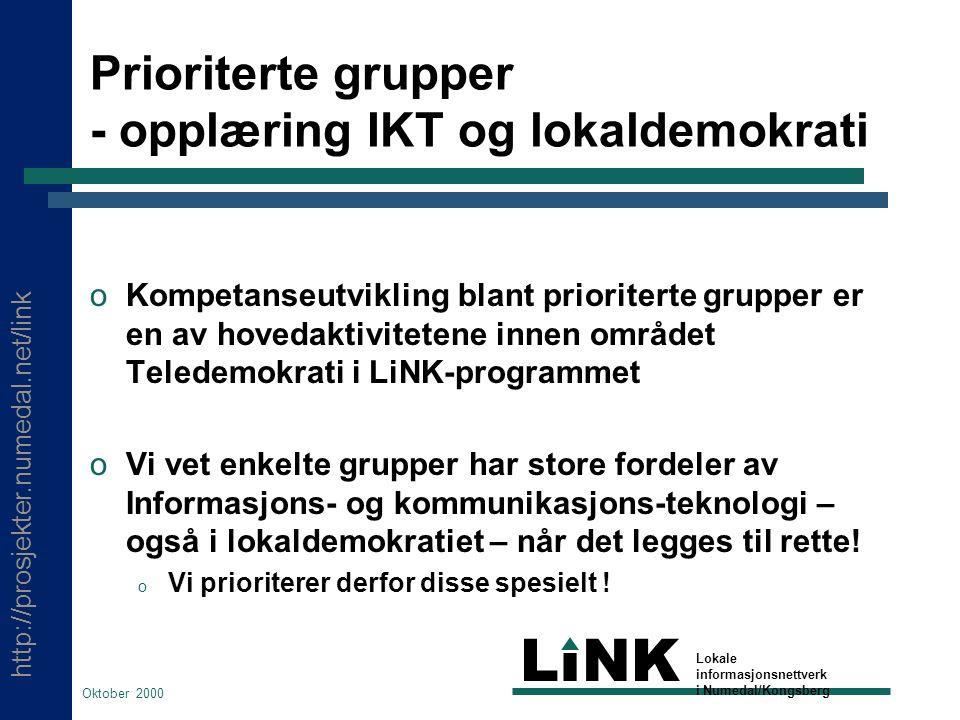 http://prosjekter.numedal.net/link LINK Lokale informasjonsnettverk i Numedal/Kongsberg Oktober 2000 Hvem er spesielt prioritert .