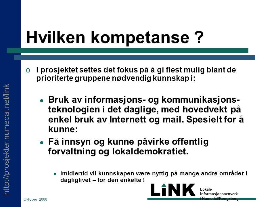 http://prosjekter.numedal.net/link LINK Lokale informasjonsnettverk i Numedal/Kongsberg Oktober 2000 Hvilken kompetanse .
