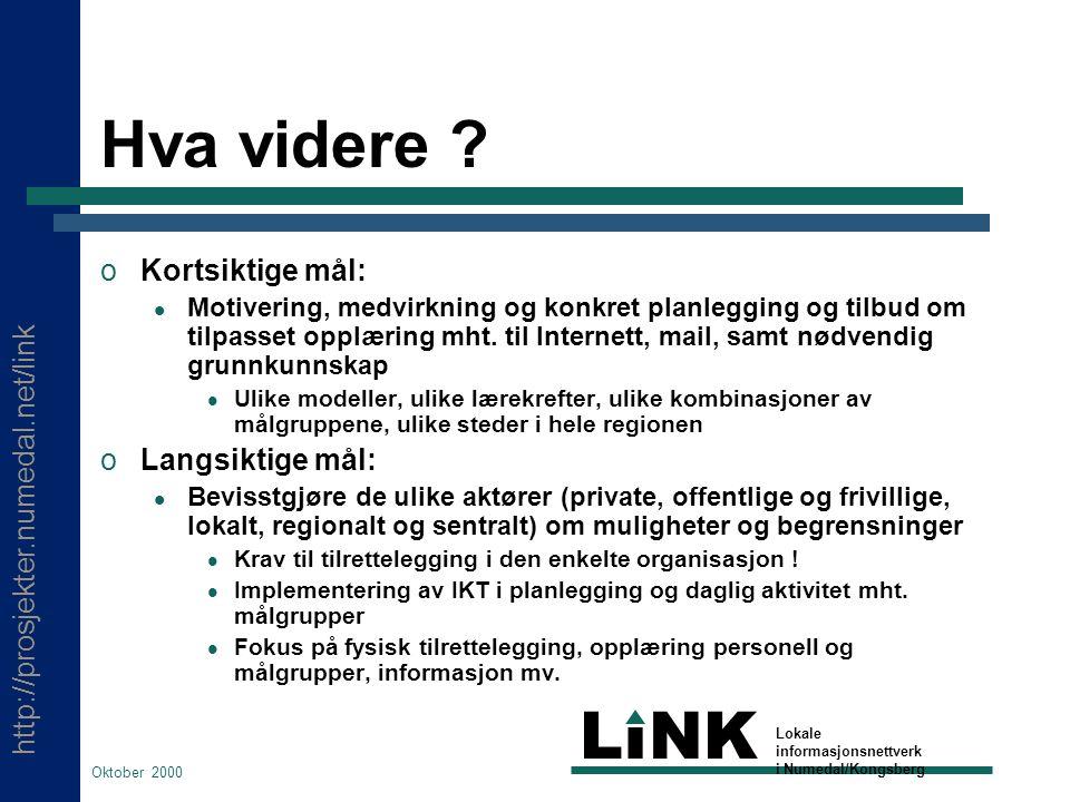 http://prosjekter.numedal.net/link LINK Lokale informasjonsnettverk i Numedal/Kongsberg Oktober 2000 Hva videre .