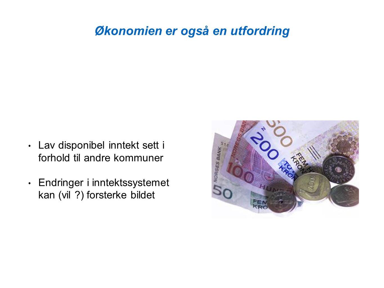 Økonomien er også en utfordring Lav disponibel inntekt sett i forhold til andre kommuner Endringer i inntektssystemet kan (vil ?) forsterke bildet