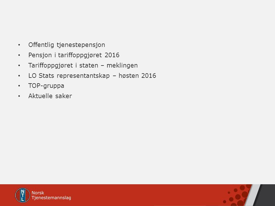 Offentlig tjenestepensjon Pensjon i tariffoppgjøret 2016 Tariffoppgjøret i staten – meklingen LO Stats representantskap – høsten 2016 TOP-gruppa Aktue