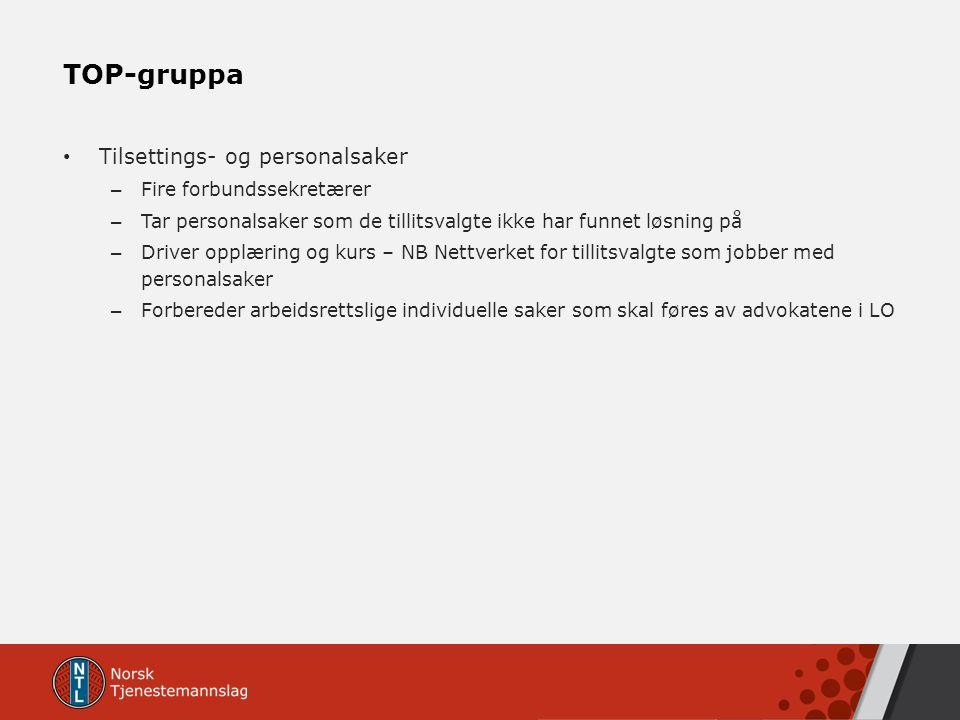 TOP-gruppa Tilsettings- og personalsaker – Fire forbundssekretærer – Tar personalsaker som de tillitsvalgte ikke har funnet løsning på – Driver opplær