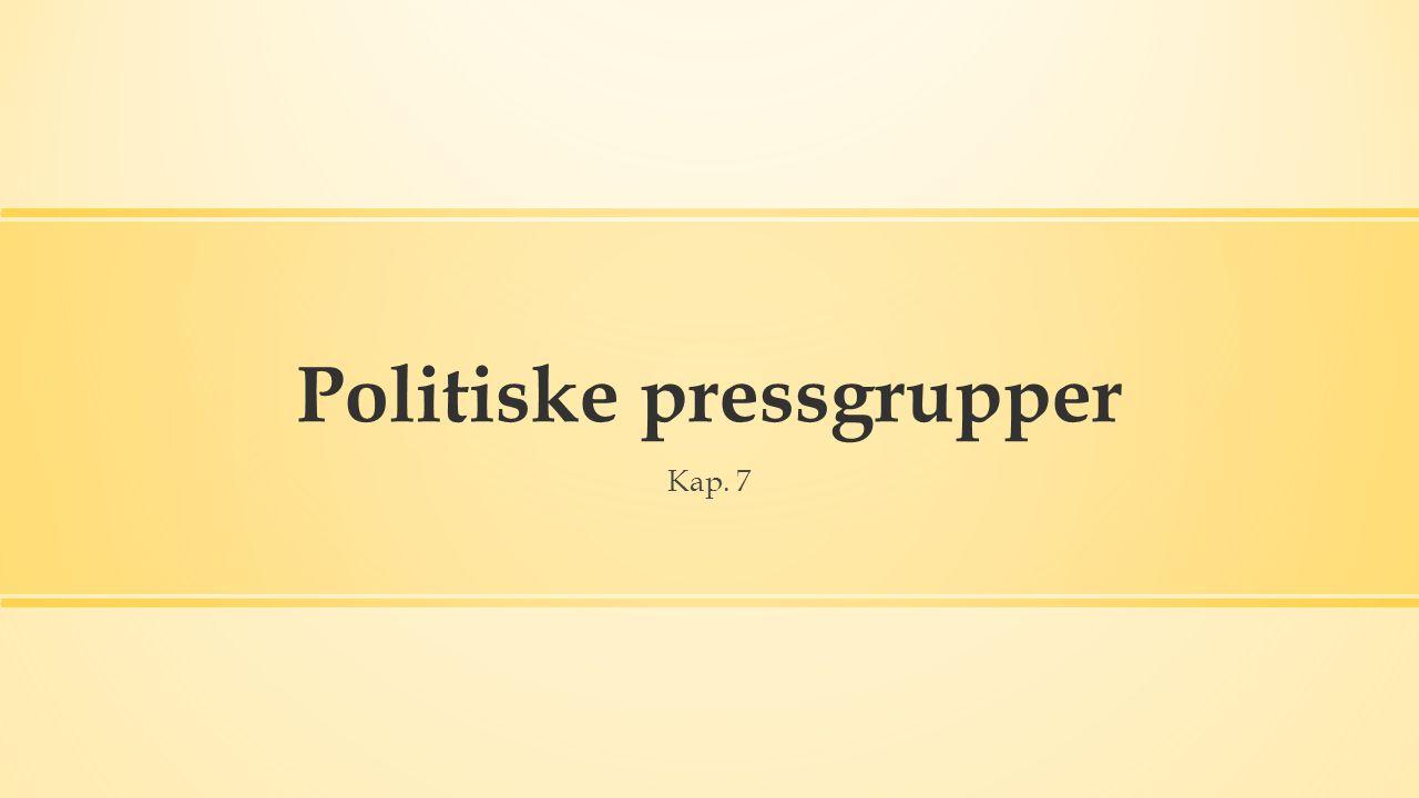 Politiske pressgrupper Kap. 7