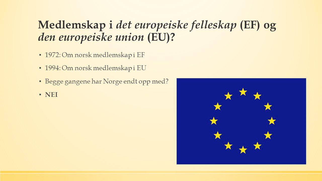Medlemskap i det europeiske felleskap (EF) og den europeiske union (EU).
