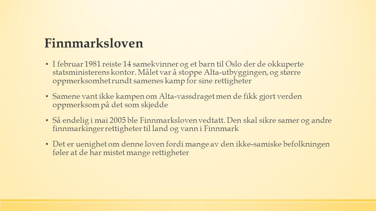 Finnmarksloven ▪ I februar 1981 reiste 14 samekvinner og et barn til Oslo der de okkuperte statsministerens kontor.