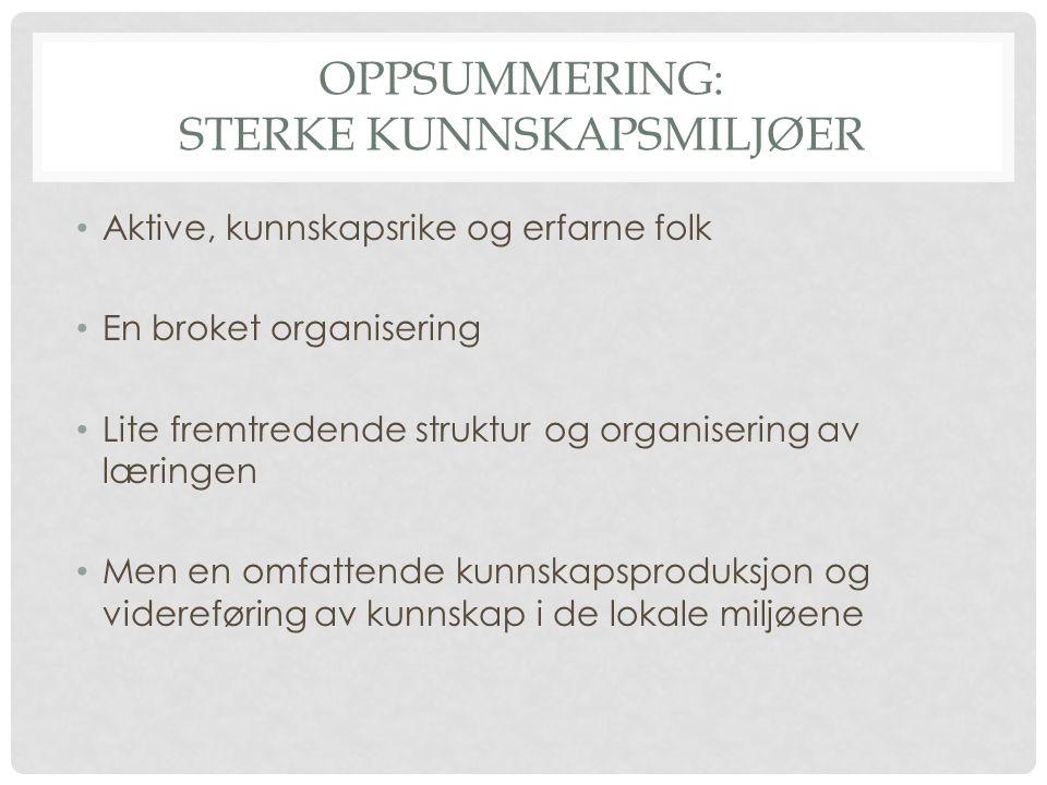OPPSUMMERING: STERKE KUNNSKAPSMILJØER Aktive, kunnskapsrike og erfarne folk En broket organisering Lite fremtredende struktur og organisering av lærin