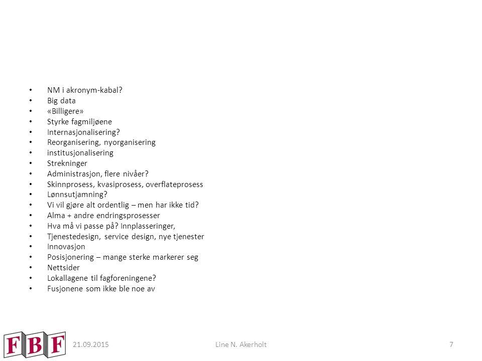21.09.2015Line N. Akerholt7 NM i akronym-kabal? Big data «Billigere» Styrke fagmiljøene Internasjonalisering? Reorganisering, nyorganisering institusj