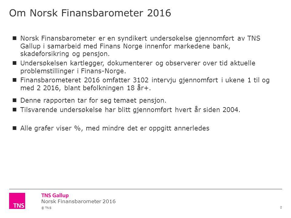 © TNS Om Norsk Finansbarometer 2016 2 Norsk Finansbarometer er en syndikert undersøkelse gjennomført av TNS Gallup i samarbeid med Finans Norge innenf