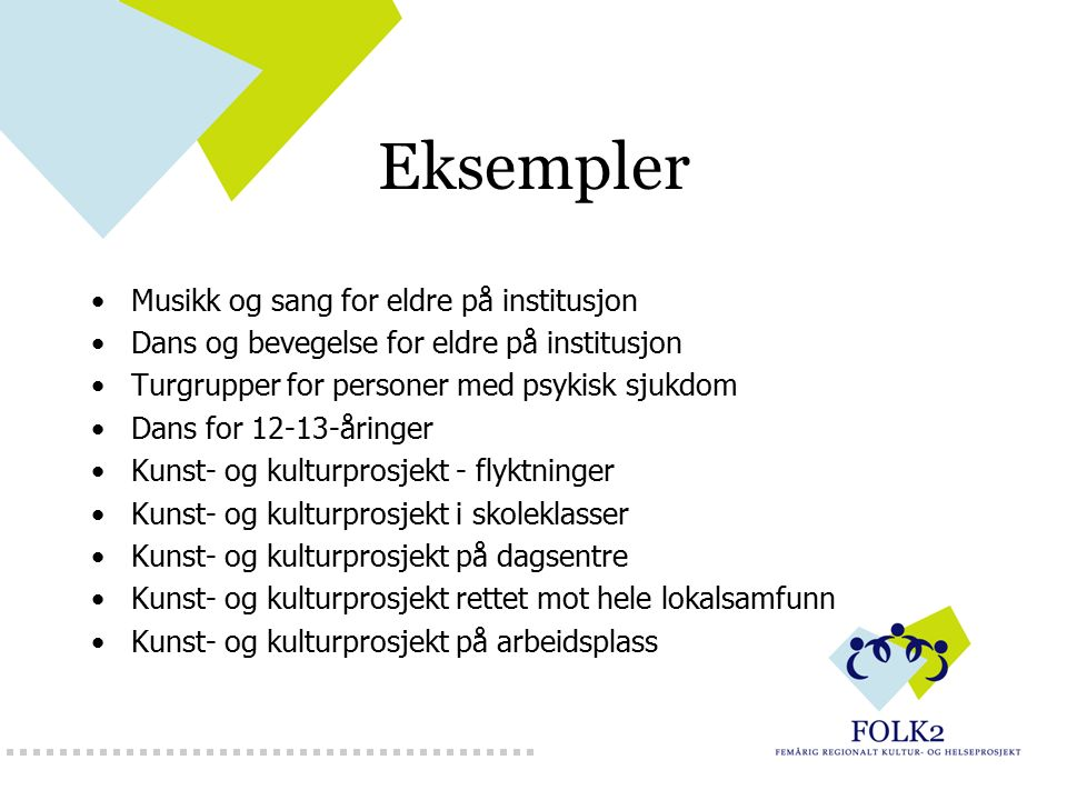 Eksempler Musikk og sang for eldre på institusjon Dans og bevegelse for eldre på institusjon Turgrupper for personer med psykisk sjukdom Dans for 12-1