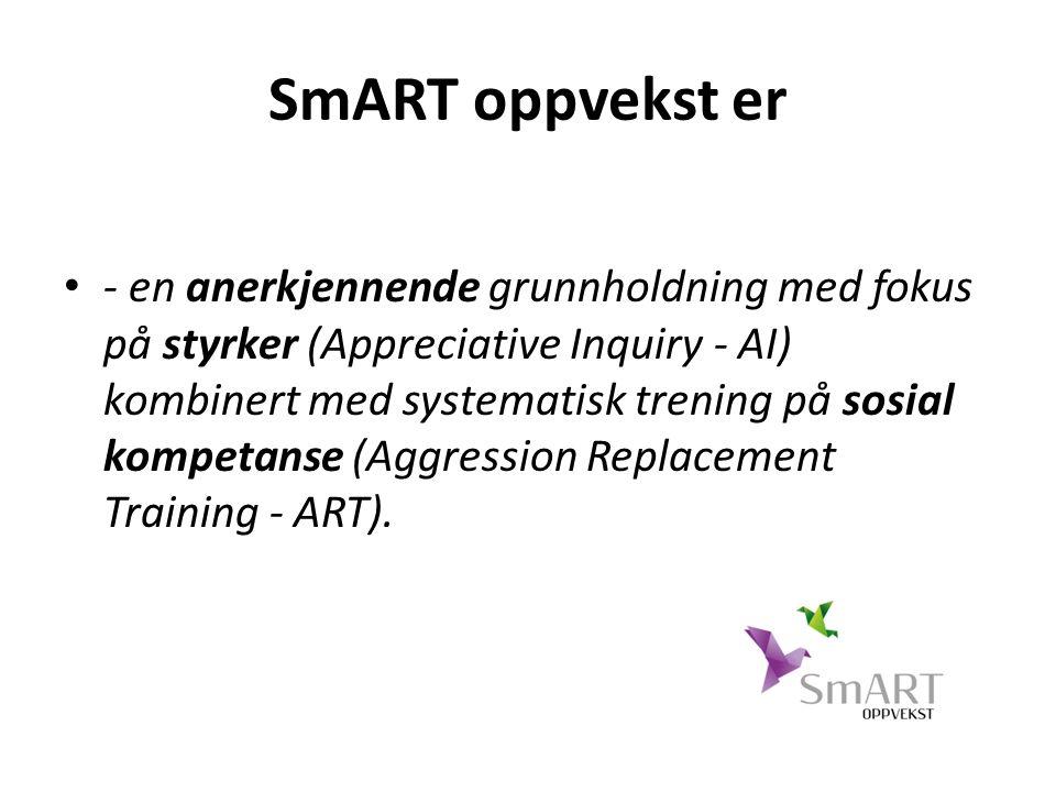 SmART oppvekst er - en anerkjennende grunnholdning med fokus på styrker (Appreciative Inquiry - AI) kombinert med systematisk trening på sosial kompetanse (Aggression Replacement Training - ART).