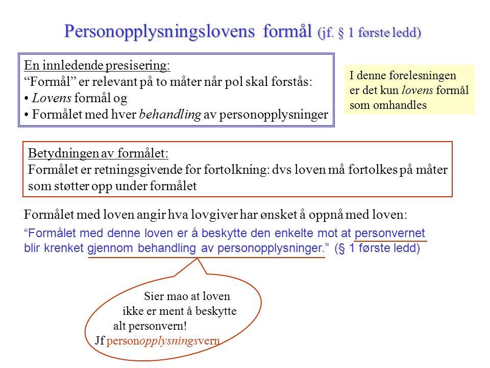 Personopplysningslovens formål (jf.