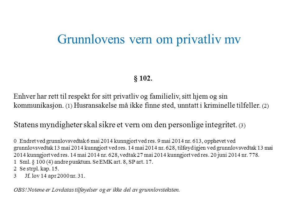 Grunnlovens vern om privatliv mv § 102.