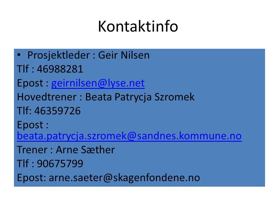 Kontaktinfo Prosjektleder : Geir Nilsen Tlf : 46988281 Epost : geirnilsen@lyse.netgeirnilsen@lyse.net Hovedtrener : Beata Patrycja Szromek Tlf: 463597