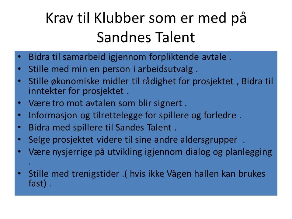 Krav til Klubber som er med på Sandnes Talent Bidra til samarbeid igjennom forpliktende avtale. Stille med min en person i arbeidsutvalg. Stille økono