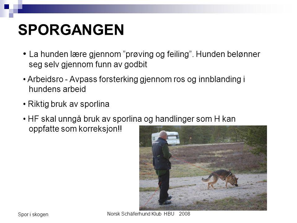 Norsk Schäferhund Klub HBU 2008 Spor i skogen SPORGANGEN La hunden lære gjennom prøving og feiling .