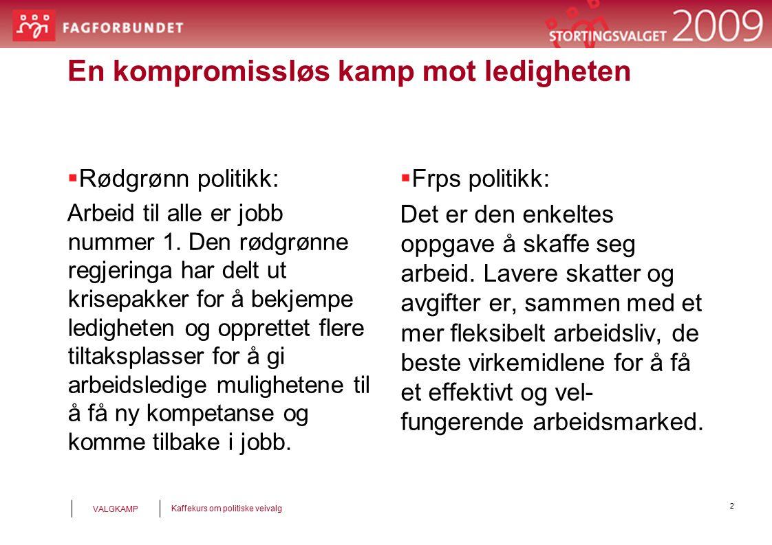 2 Kaffekurs om politiske veivalg VALGKAMP En kompromissløs kamp mot ledigheten  Rødgrønn politikk: Arbeid til alle er jobb nummer 1.