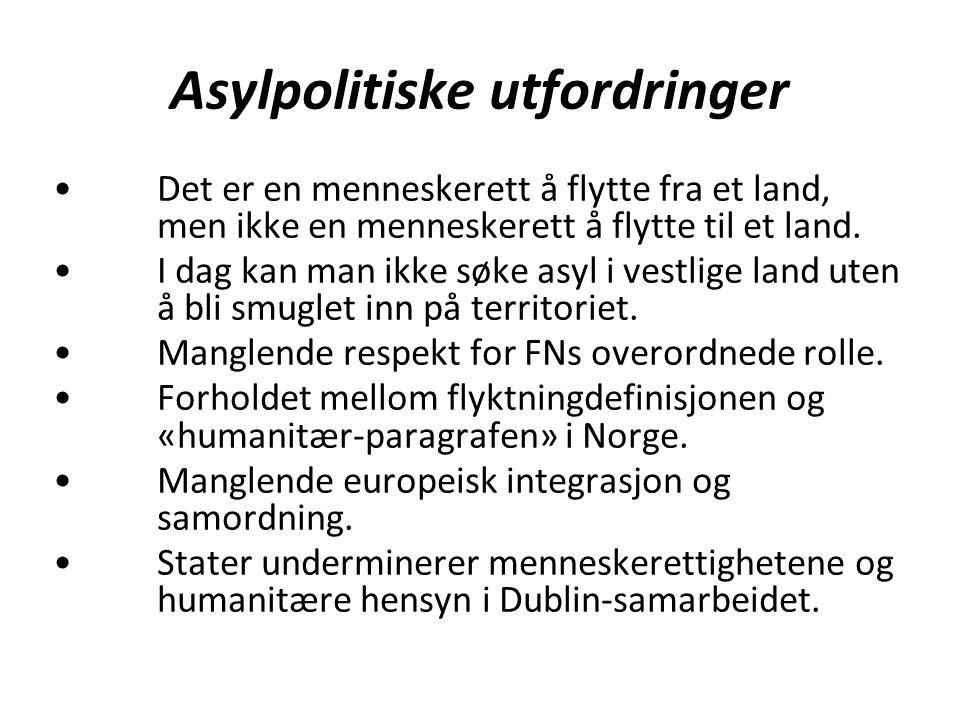 Asylpolitiske utfordringer Det er en menneskerett å flytte fra et land, men ikke en menneskerett å flytte til et land.
