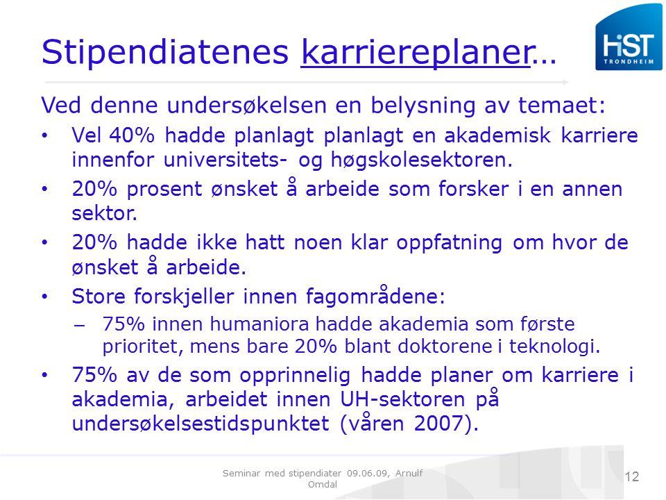 Seminar med stipendiater 09.06.09, Arnulf Omdal 12 Stipendiatenes karriereplaner… Ved denne undersøkelsen en belysning av temaet: Vel 40% hadde planlagt planlagt en akademisk karriere innenfor universitets- og høgskolesektoren.