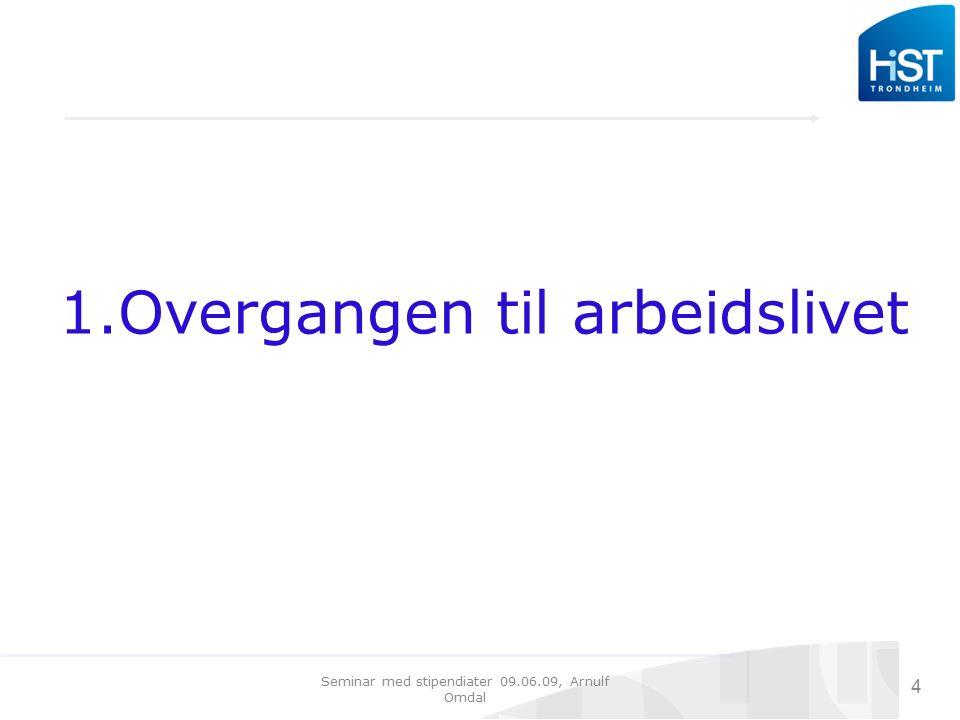 Seminar med stipendiater 09.06.09, Arnulf Omdal 5 Små problemer med å finne arbeid Sysselsettingen er høy for personer med doktorgrad.