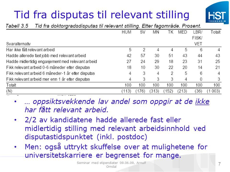 Seminar med stipendiater 09.06.09, Arnulf Omdal 7 Tid fra disputas til relevant stilling … oppsiktsvekkende lav andel som oppgir at de ikke har fått relevant arbeid.