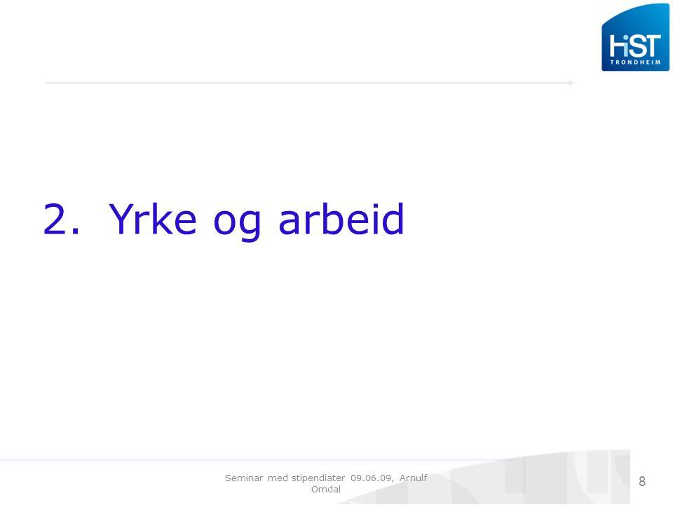 Seminar med stipendiater 09.06.09, Arnulf Omdal 19 Nåværende arbeidsinnhold knyttet til problemstillinger i dr.- avhandlingen?