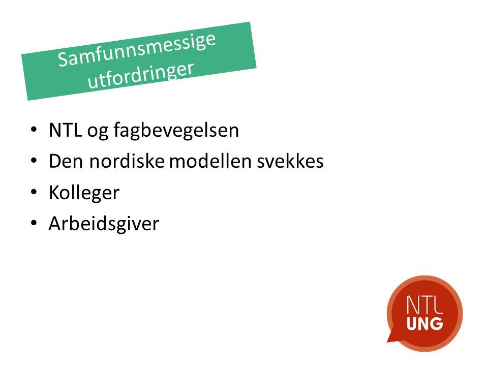Samfunnsmessige utfordringer NTL og fagbevegelsen Den nordiske modellen svekkes Kolleger Arbeidsgiver