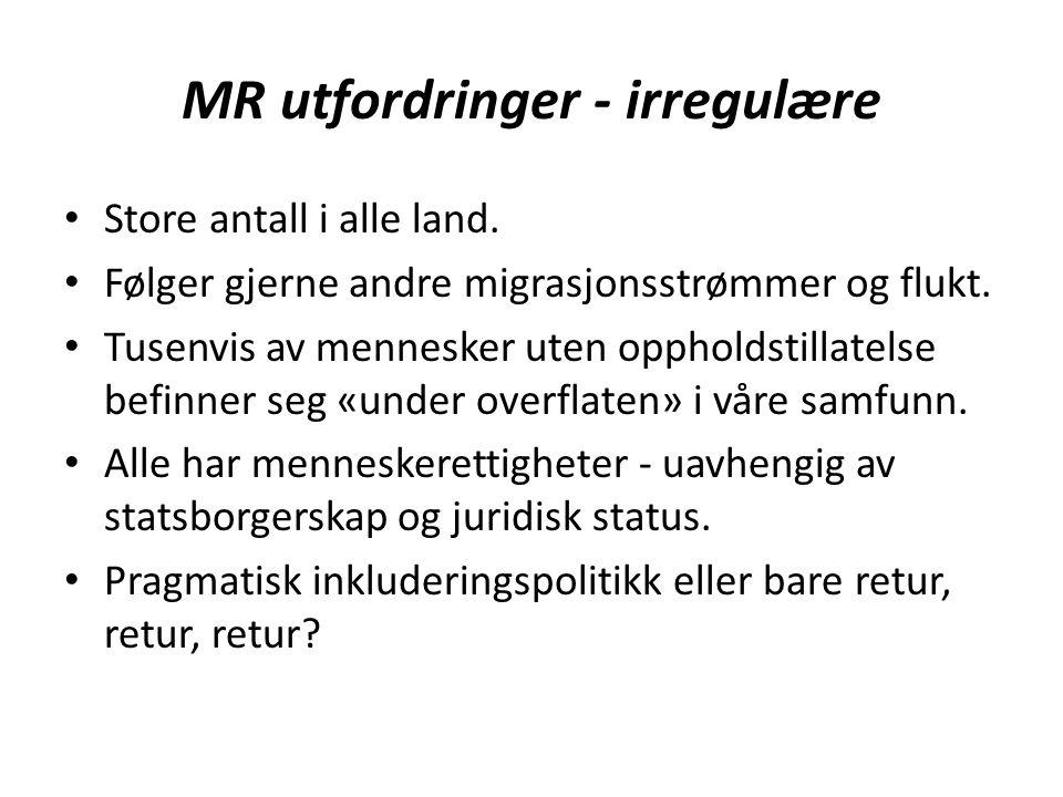 MR utfordringer - irregulære Store antall i alle land. Følger gjerne andre migrasjonsstrømmer og flukt. Tusenvis av mennesker uten oppholdstillatelse