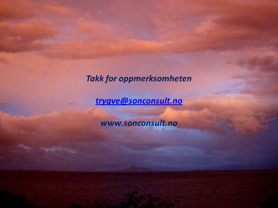 Takk for oppmerksomheten trygve@sonconsult.no www.sonconsult.no