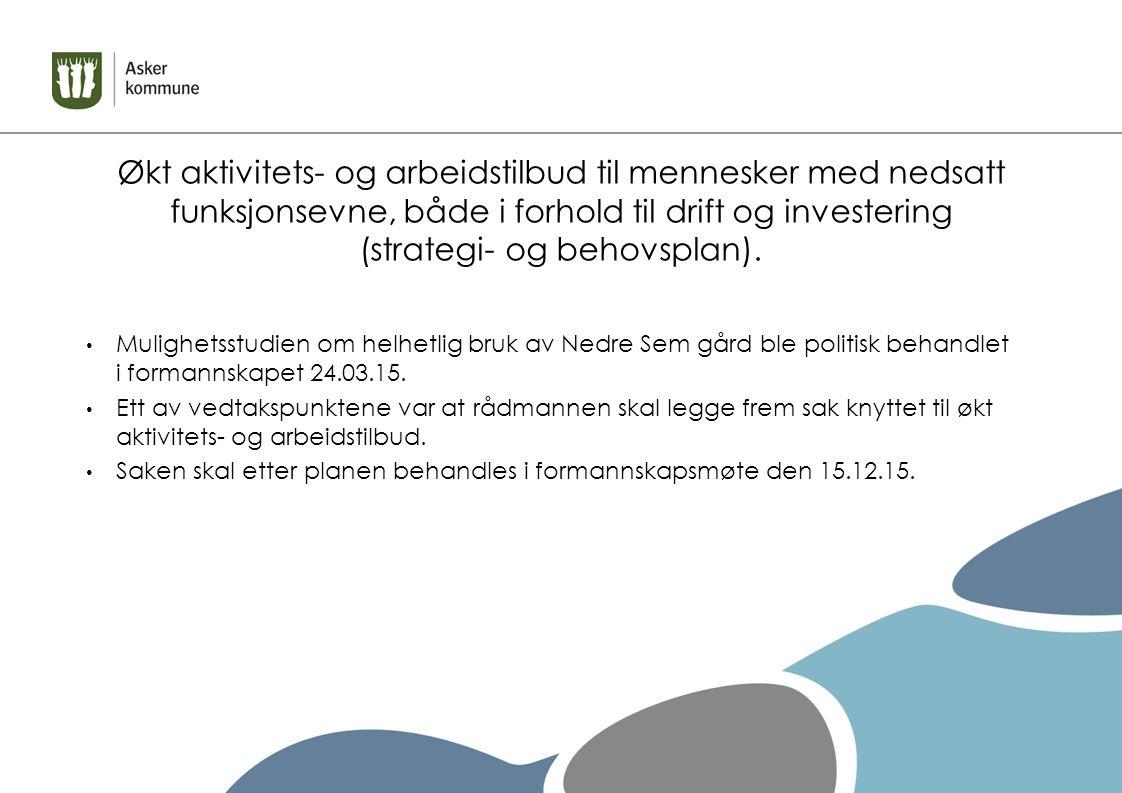 Økt aktivitets- og arbeidstilbud til mennesker med nedsatt funksjonsevne (strategi- og behovsplan)  Saken bygger på «Internt notat/arbeidsdokument for administrasjonen», senest revidert den 16.11.15, som er utarbeidet av Gyda Steinsdottir, leder for Arbeid, fritid og avlastning, i samarbeid med administrasjonen ved Kari Hagen.
