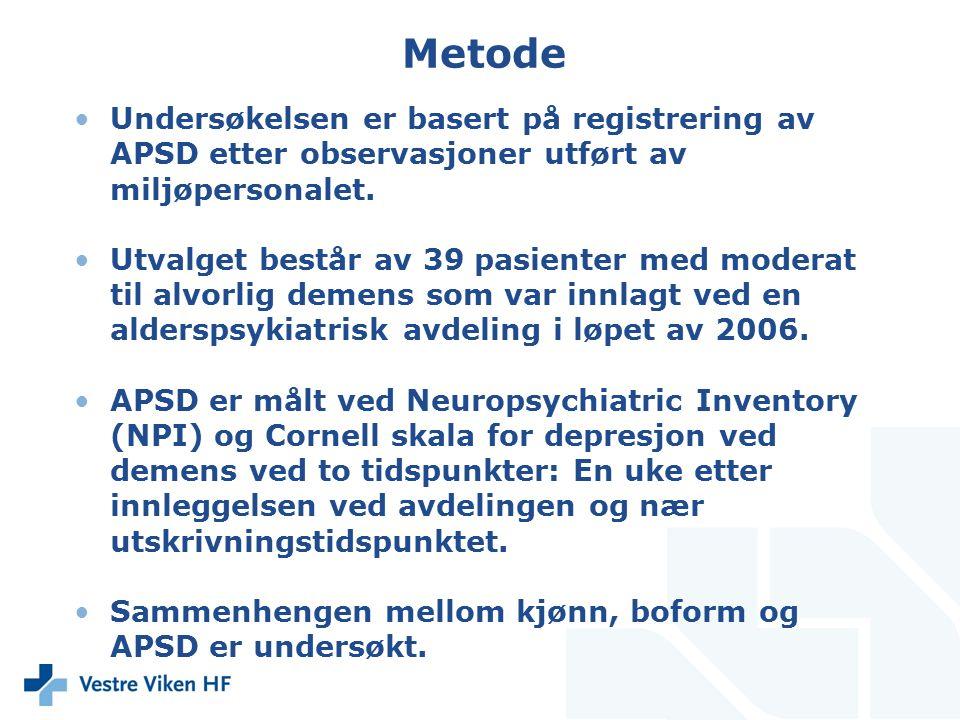Metode Undersøkelsen er basert på registrering av APSD etter observasjoner utført av miljøpersonalet. Utvalget består av 39 pasienter med moderat til