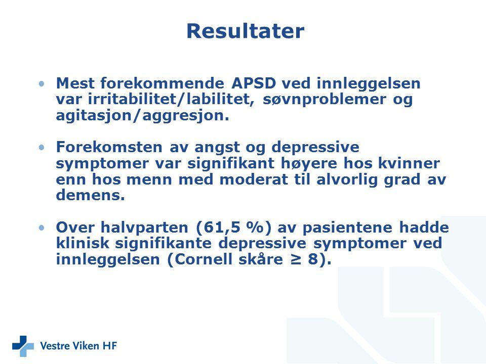 Resultater Mest forekommende APSD ved innleggelsen var irritabilitet/labilitet, søvnproblemer og agitasjon/aggresjon. Forekomsten av angst og depressi