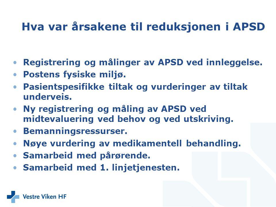 Hva var årsakene til reduksjonen i APSD Registrering og målinger av APSD ved innleggelse. Postens fysiske miljø. Pasientspesifikke tiltak og vurdering