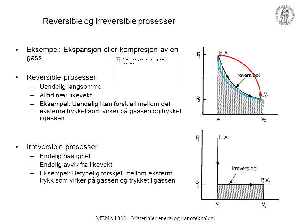MENA 1000 – Materialer, energi og nanoteknologi Reversible og irreversible prosesser Eksempel: Ekspansjon eller kompresjon av en gass. Reversible pros